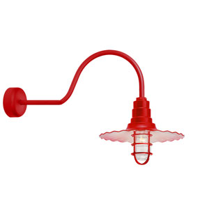 Radial Wave Red One-Light 16-Inch Outdoor Wall Sconce with 30-Inch Arm