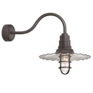 Radial Wave Textured Bronze One-Light 16-Inch Outdoor Wall Sconce with 23-Inch Arm