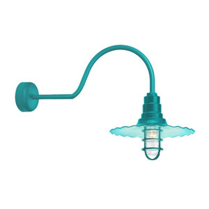Radial Wave Tahitian Teal One-Light 16-Inch Outdoor Wall Sconce with 30-Inch Arm