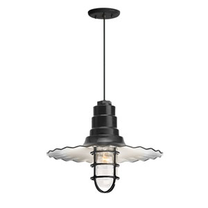 Radial Wave Black One-Light 18-Inch Outdoor Pendant