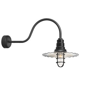 Radial Wave Black One-Light 18-Inch Outdoor Wall Sconce with 30-Inch Arm