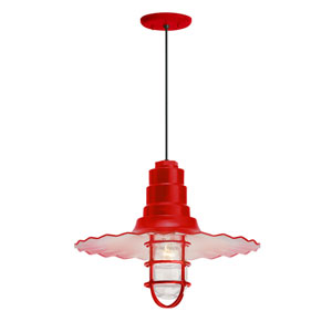 Radial Wave Red One-Light 18-Inch Outdoor Pendant