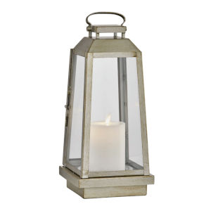 Edgewater Champagne Silver Six-Inch LED Outdoor Table Lantern