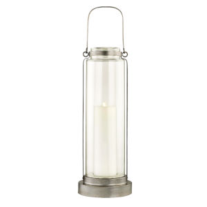 Fillmore Champagne Silver Nine-Inch LED Outdoor Floor Lantern
