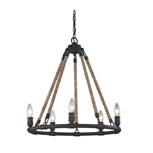 Wharfside Textured Bronze Five-Light Chandelier