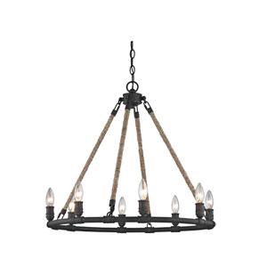 Wharfside Textured Bronze Eight-Light Chandelier