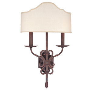 Seville Weathered Iron Two-Light Wall Sconce with Hardback Shade