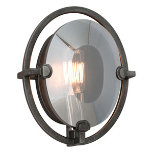 Prism Graphite One-Light Oval Wall Sconce with Plated Smoked Crystal Glass