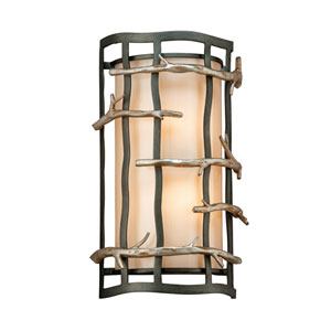 Graphite and Silver Adirondack Medium Two-Light Wall Mount