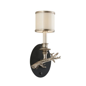 Drift Bronze One-Light Right Wall Sconce with with Silver Leaf Accents and White Pearl Glass