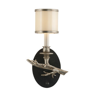 Drift Bronze One-Light Left Wall Sconce with with Silver Leaf Accents and White Pearl Glass