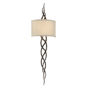 Tattoo Cottage Bronze Two-Light Wall Sconce with Hardback Linen Shade