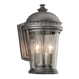 Ambassador Aged Pewter Two-Light Small Wall Sconce with Clear Seeded Glass