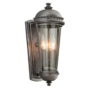 Ambassador Aged Pewter Three-Light Medium Wall Sconce with Clear Seeded Glass