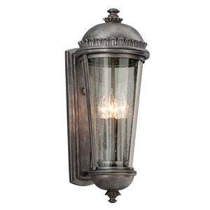 Ambassador Aged Pewter Four-Light Large Wall Sconce with Clear Seeded Glass