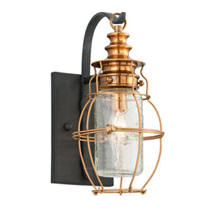 Little Harbor Aged Brass One-Light Small Wall Sconce with Forged Black Accents and Clear Antique Glass