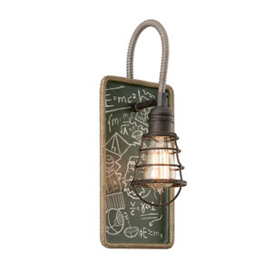 Relativity Salvage Zinc One-Light Wall Sconce with Chalkboard Interior
