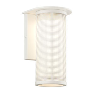 Hive Satin White One-Light Wall Medium Sconce w/ Coastal Finish with Opal White Glass