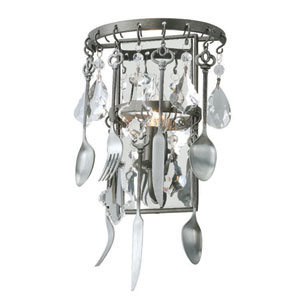 Bistro Graphite and Antique Pewter Flatware One Light Wall Sconce