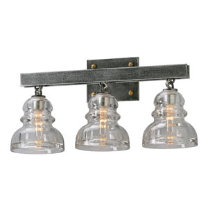 Menlo Park Old Silver Three Light Vanity Fixture