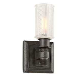 Vault Aged Pewter One-Light Vanity with Frosted Pressed Glass