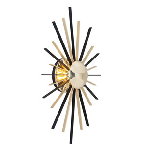 Atomic Polished Brass and Matte Black LED Wall Sconce