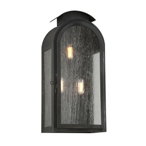 Copley Square Charred Iron Three-Light Nine-Inch Outdoor Wall Sconce