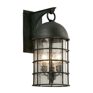 Charlemagne Aged Pewter Three-Light Outdoor Wall Sconce