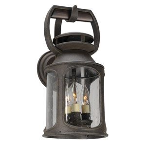 Old Trail Centennial Rust Three-Light Eight-Inch Outdoor Wall Sconce