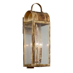 Bostonian Historic Brass Three-Light Outdoor Wall Lantern
