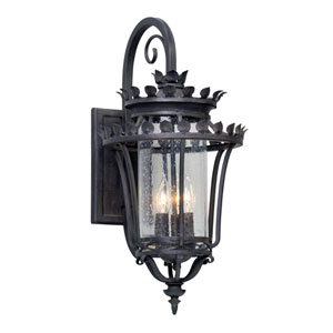 Greystone Forged Iron Three-Light Outdoor Wall Lantern