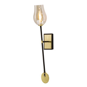 Equilibrium Textured Bronze and Brushed Brass One-Light Wall Sconce