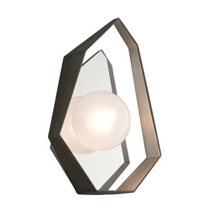 Origami Graphite with Silver Leaf 9-Inch LED Wall Sconce with Frosted Clear Glass
