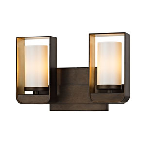 Escape Bronze and Gold Leaf Two-Light LED Bath Vanity