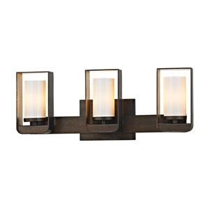 Escape Bronze and Gold Leaf Three-Light LED Bath Vanity