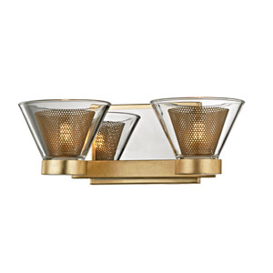 Wink Gold Leaf with Polished Chrome Accents Two-Light LED Bath Vanity