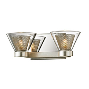 Wink Silver Leaf with Polished Chrome Accents Two-Light LED Bath Vanity