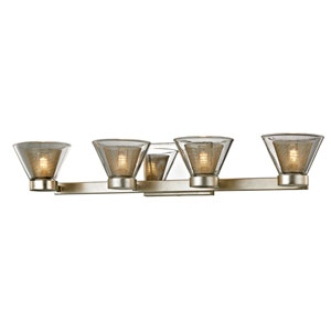 Wink Silver Leaf with Polished Chrome Accents Four-Light LED Bath Vanity