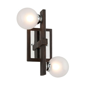 Network Forest Bronze and Polished Chrome Wall Sconce