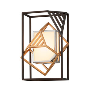 Cubist Bronze and Gold Leaf LED Wall Sconce