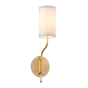 Juniper Textured Gold Leaf One-Light Wall Sconce with Off-White Hardback Linen