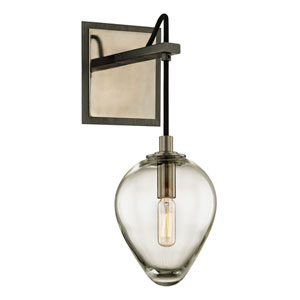 Brixton Gunmetal and Smoked Chrome One-Light Wall Sconce with Dark Bronze