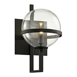 Elliot Textured Black One-Light Wall Sconce with Dark Bronze
