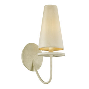 Marcel Gesso White One-Light Wall Sconce with Off-White Hardback Cotton