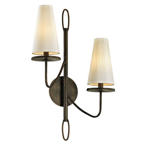 Marcel Pompeii Bronze Two-Light Wall Sconce with Off-White Hardback Cotton