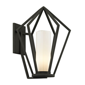 Whitley Heights Textured Black  Medium One-Light Outdoor Wall Sconce with Opal White Glass