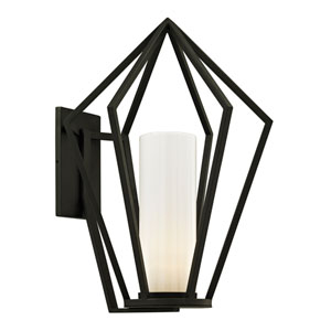 Whitley Heights Textured Black Large One-Light Outdoor Wall Sconce with Opal White Glass