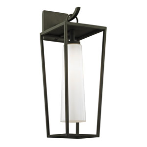 Mission Beach Textured Black Medium One-Light Outdoor Wall Sconce with Opal White Glass