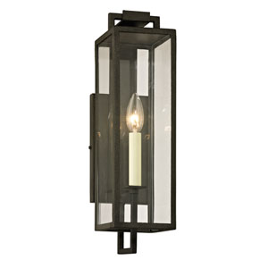 Beckham Forged Iron One-Light Outdoor Wall Sconce with Dark Bronze