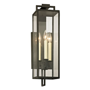 Beckham Forged Iron Three-Light Outdoor Wall Sconce with Dark Bronze